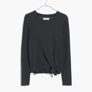 Madewell Gray Ribbed Side Knot Long Sleeve Top